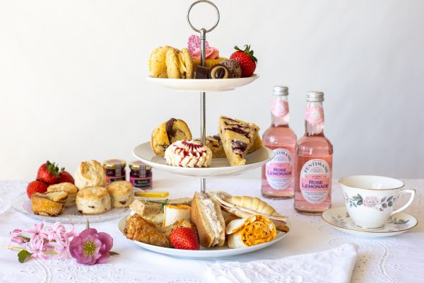 Afternoon Tea set out on three tier cake stand